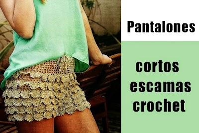 Pantalones cortos de escamas de crochet