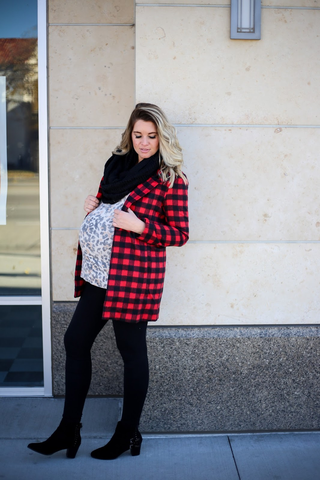 Mixing Prints, Preggo Leggings, Plaid Coat