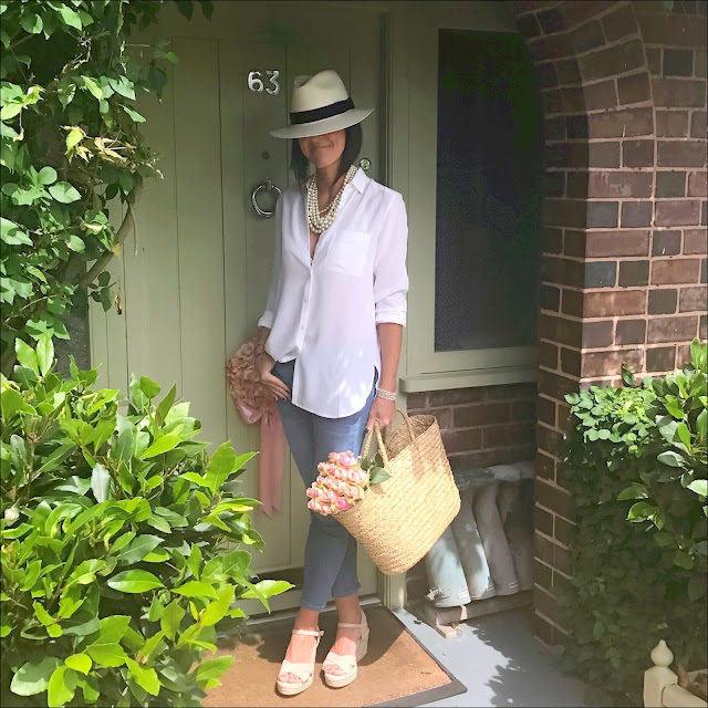 My Midlife Fashion, The white company cross front espadrille wedges, the white company silk shirt, the white company straw basket bag, j crew toothpick skinny cropped jeans, mark and spencer hand woven panama hat, j crew hammock twisted pearl necklace