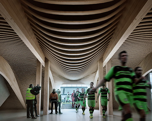 Tinuku Zaha Hadid Architects build football stadium made of wood for English football club Forest Green Rovers