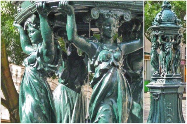 Modelo grande de fuente Wallace en París