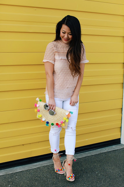Spring must haves: Pom pom clutch and shoes