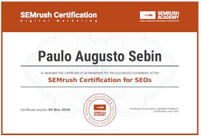 Certificado SEO pela SEM Rush