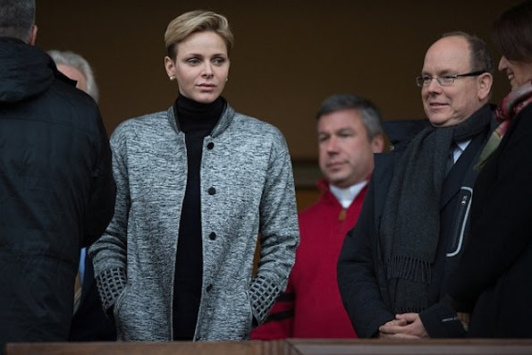 Princess Charlene, Prince Albert II and Prince Jacques of Monaco attend the 6th Sainte Devote Rugby Tournament at Stade Louis II