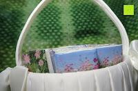 Taschentücher: Runde Elfenbein Satin bowknot Hochzeit Blumenmädchen Korb Blumenkinderkörbchen