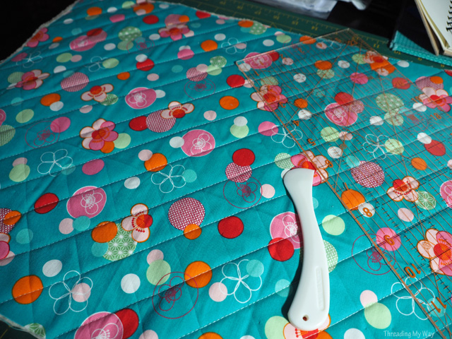 Use a hera marker to sew straight quilting lines ~ Threading My Way