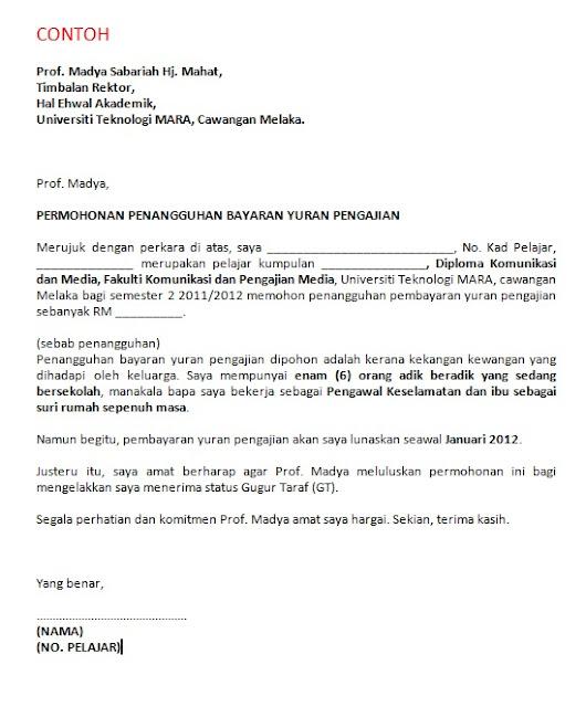 Contoh Surat Rasmi Permohonan Penangguhan Pembayaran Yuran