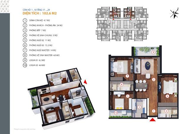 Căn hộ 01 - 10 tầng 17 - 29
