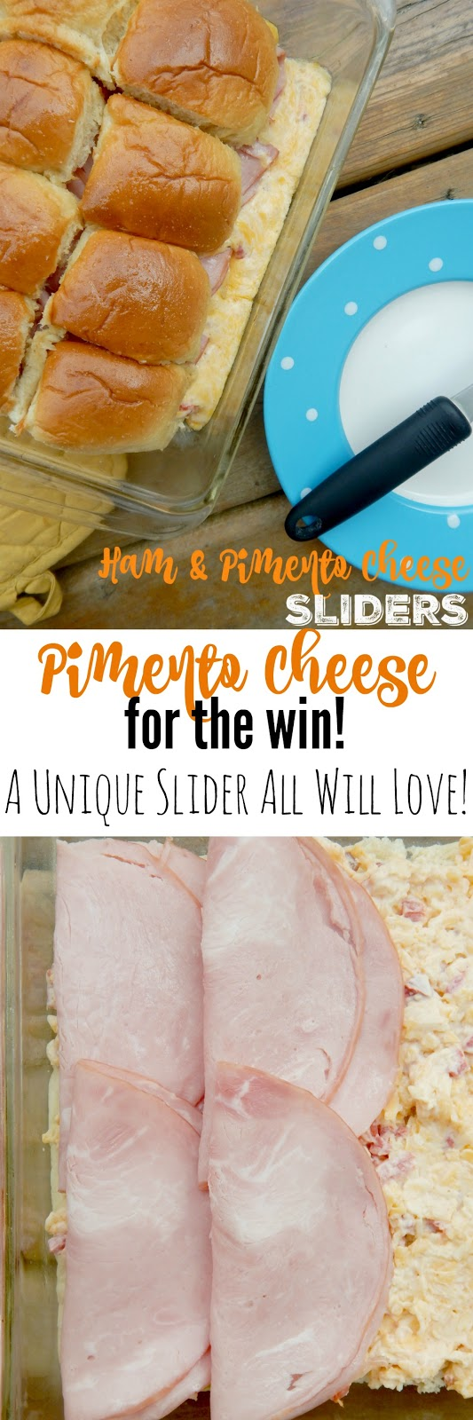 Ham and Pimento Cheese Sliders...a sandwich you will not be able to walk away from!  Salty ham, spicy pimento cheese all on a buttery bun.  Delicious! (sweetandsavoryfood.com