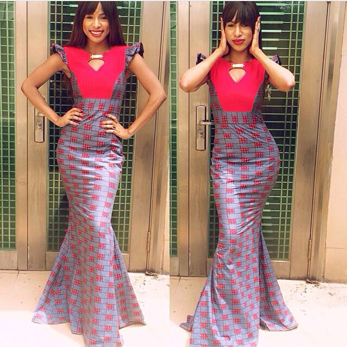 plain and pattern ankara gown (9)