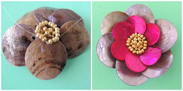 shell beads in flower shape