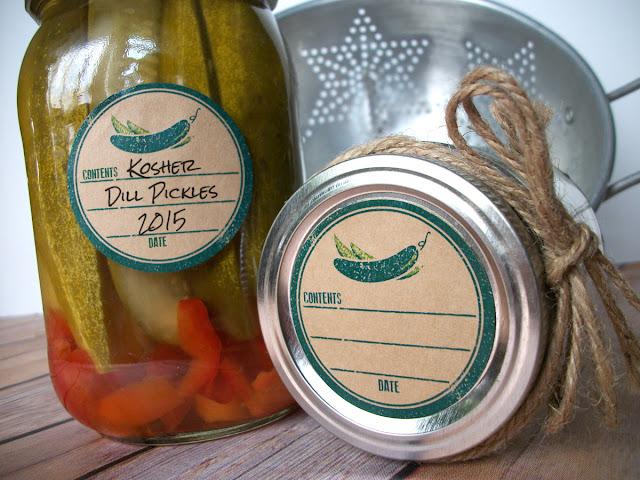 Kraft Rubber Stamp Pickle Mason Jar Labels
