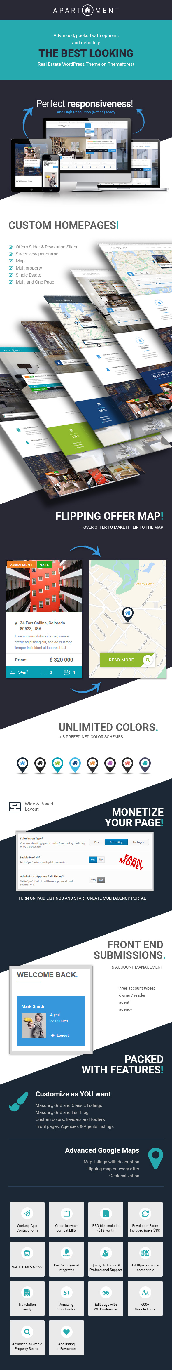 apartment wp real estate responsive wordpress theme for agents portals single property sites