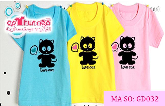 Áo gia đình Love Cat_ Mã GD032