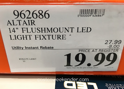 Deal for the Altair Lighting DEcorative Energy Saving LED Flushmount at Costco