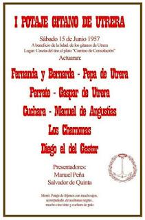 GASPAR DE UTRERA FORMÓ PARTE DEL PRIMER CARTEL DEL POTAJE GITANO DE UTRERA EN 1957, JUNTO A FERNANDA Y BERNARDA DE UTRERA. PERRATE, MANUEL DE ANGUSTIAS, DIEGO DEL GASTOR, EL CUCHARA,PEPA DE UTRERA...