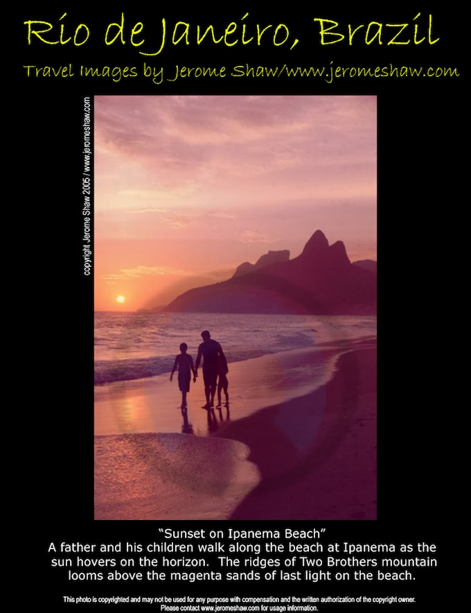 Sunset on the famous beach at Ipanema in Rio de Janeiro Brazil.  A father walks with is children towards Arpoador Rock with Gavea and Dois Irmãos / Two Brothers peaks in the background. Copyright Jerome Jerome Shaw 2005 / www.JeromeShaw.com