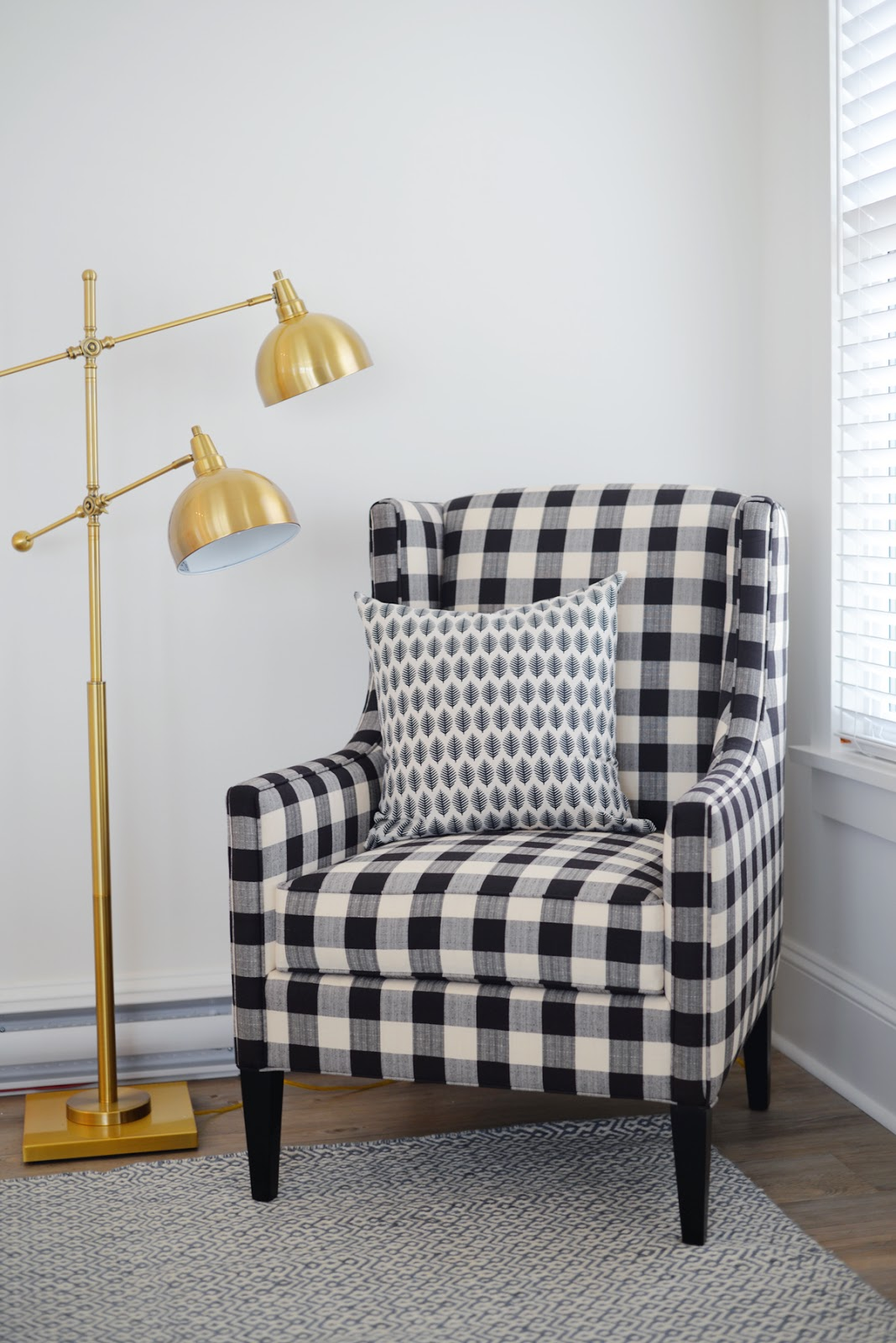 Ramblingrenovators.ca | Buffalo plaid chair, brass lamp, modern farmhouse, cottage style