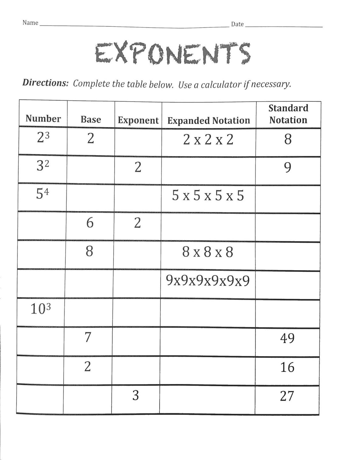 Power Of 10 Exponents Worksheet