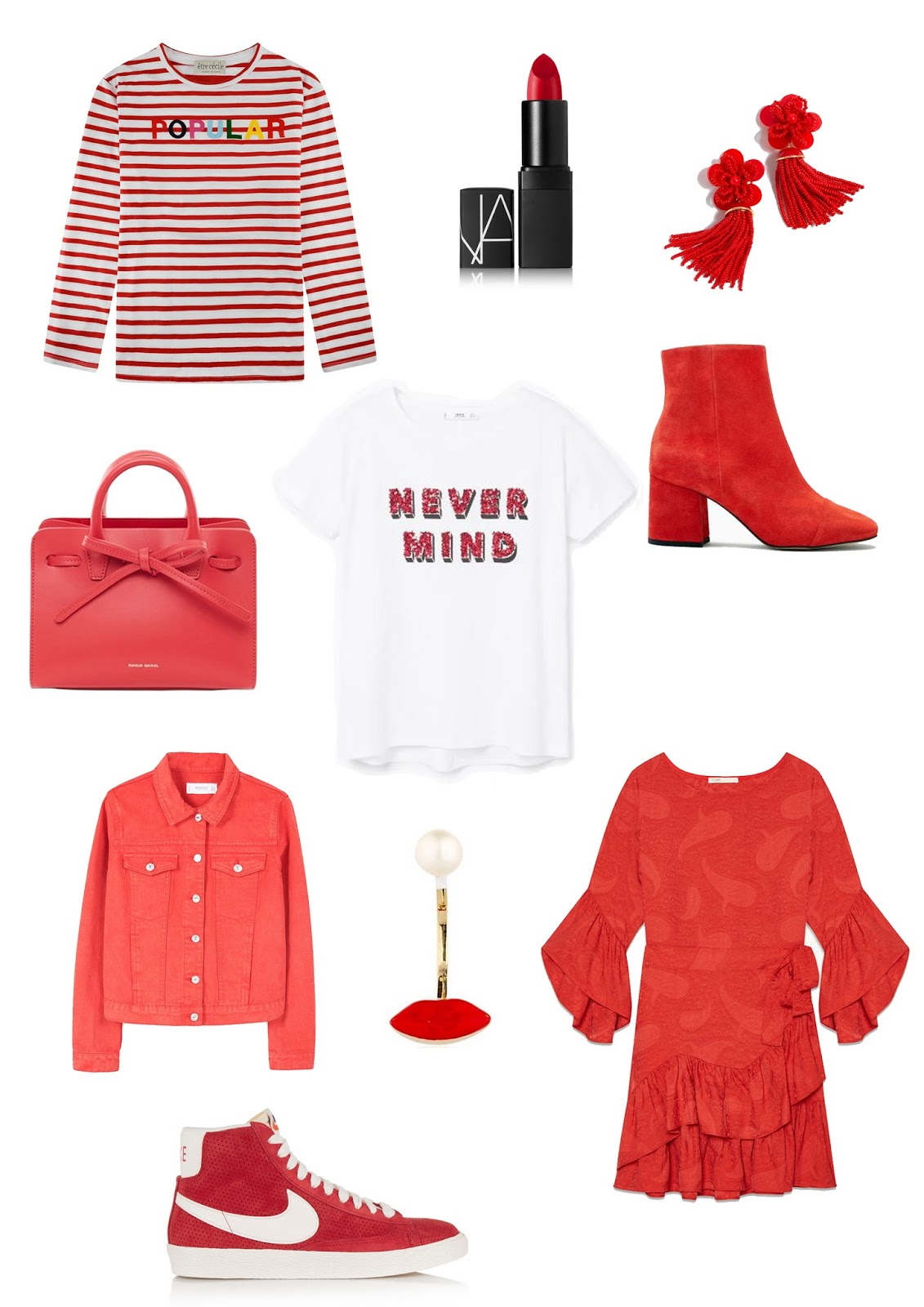 red, trend, ss17, mariniere, nars, jungle red, maje, ruffle dress, red boots, next, j crew, statement earrings, mansur gavriel, mango