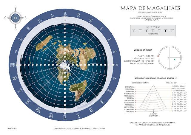 Mapa terra Plana - Mapa de Magalhães