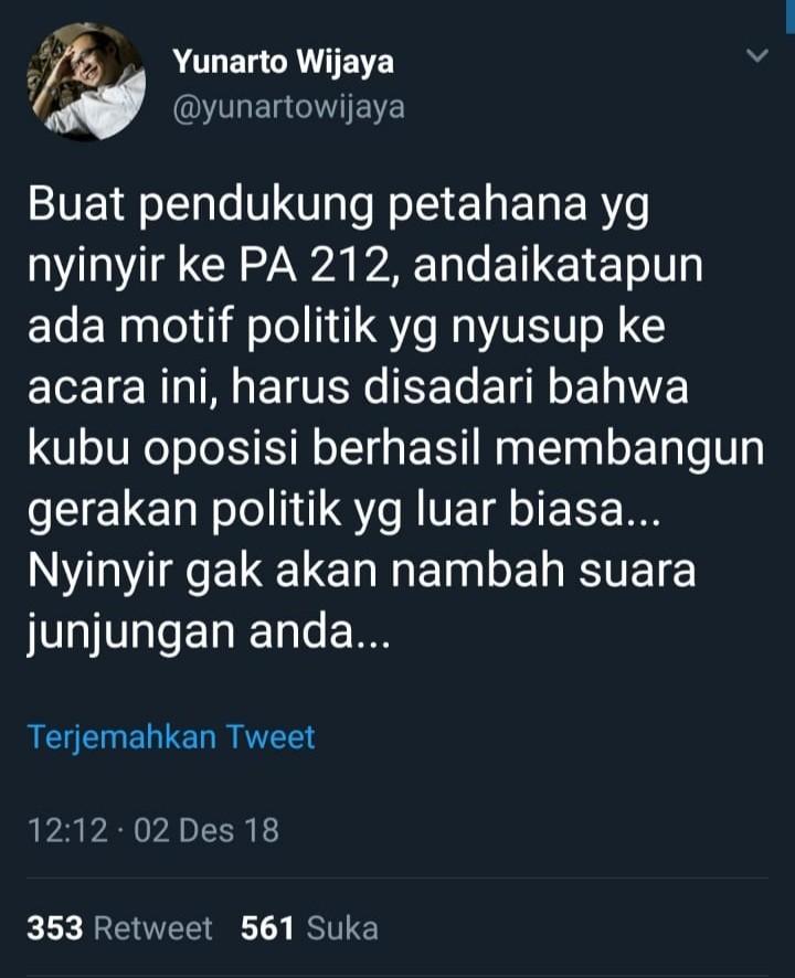 Puji Oposisi Soal Reuni 212, Ahoker Ini Sudah Taubat?