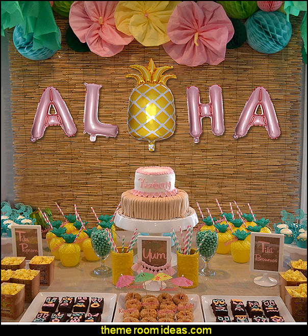 Hawaiian party Balloons   Tropical party decorations - tropical party ideas - ALOHA Hawaii Luau Party Decorations - Luau Hawaiian Grass Table Skirt raffia Decorations - Hula Hibiscus Tropical Birthday Summer Pool Party Supplies - tiki party pineapple party decorations - beach party - Birthday party  photo backdrop - tropical themed cake decorations - beach tiki themed table decorations -  party props - summer party