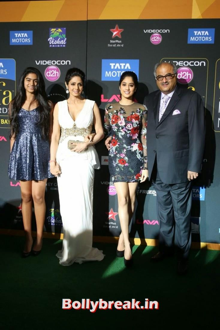 Sridevi with hubby Boney Kapoor and kids Jhanvi and Khushi, Bollywood Celebs sizzle on IIFA 2014 Green Carpet Pics