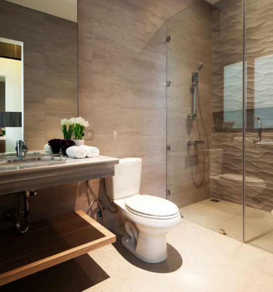 Elegant wooden bathroom