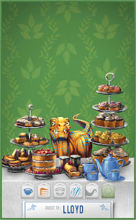 A small yellow dinosaur with teal stripes, perhaps a raptor of some kind, with four fangs protruding from his mouth, standing at a table loaded with cakes and pastries on multi-tiered serving trays, against a green wallpaper.