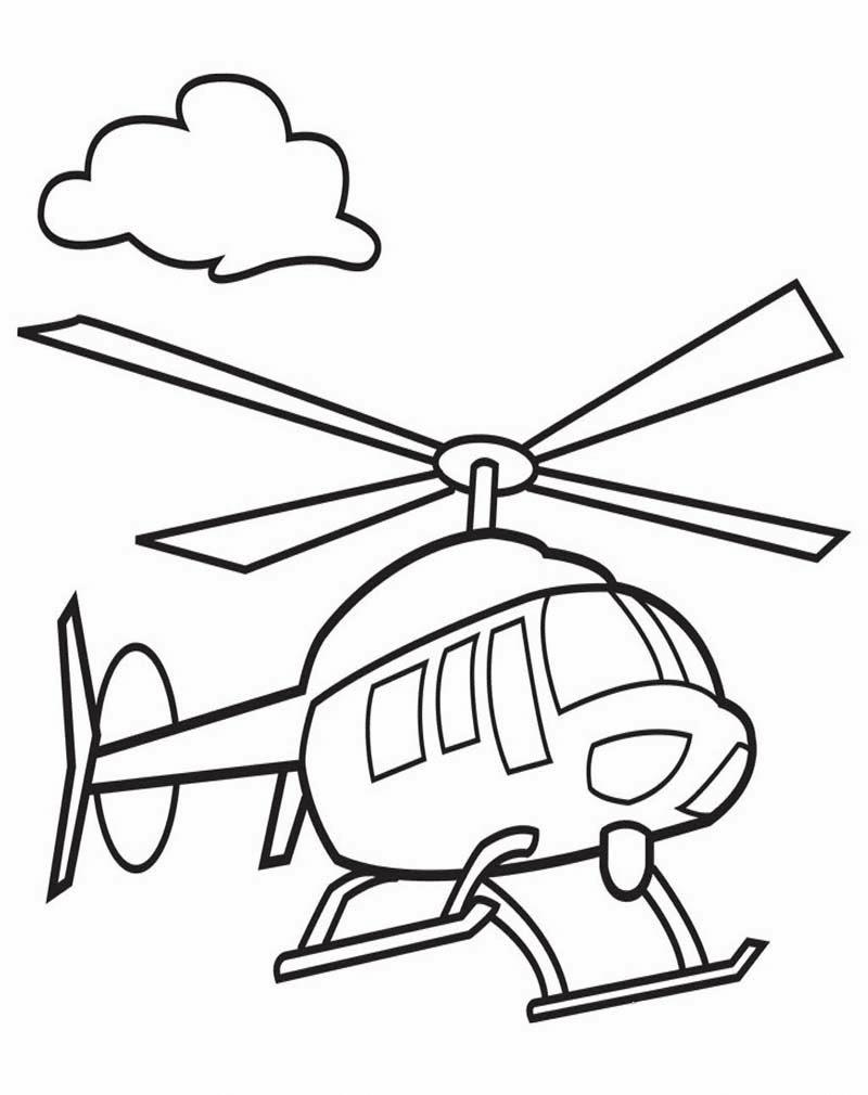 Gambar Mewarnai Gambar Helikopter Untuk Anak