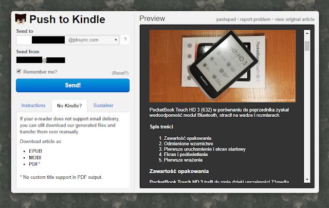 Wysyłanie artykułu na PocketBook Touch HD 3 z wykorzystaniem Push-to-Kindle