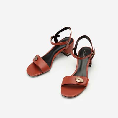 Giày Sandal Quai Phối Nubuck Trang Trí Kim Loại - SDN 0665 - Màu Cam Đậm
