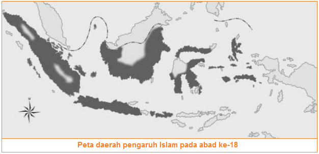 Peta daerah pengaruh Islam di Indonesia pada abad ke-18