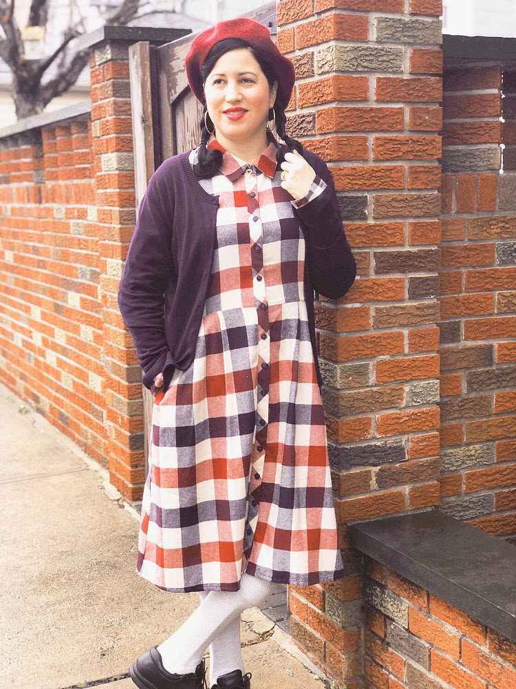 A Vintage Nerd, Vintage Blogger, Cats Like Us, Modcloth Plaid Dress, Vintage Lifestyle Blogger,  Plus Size Fashion, Curvy Blogger, Plaid Dress, 1960's Beret, Vintage Inspired Fashion, Fashion Blogger, Creating Your Own Styles, Tips on How To Create Your Own Stye