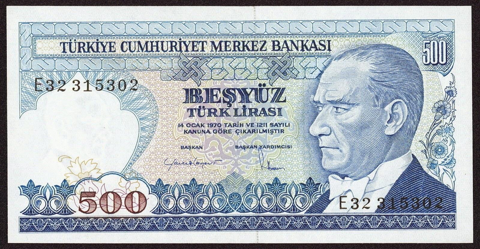 """Turkey Banknotes 500 Turkish Lira """"Türk Lirasi"""" note Mustafa Kemal Atatürk"""