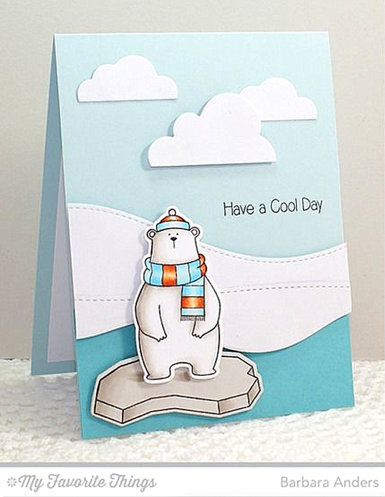 Handmade card from Barbara Anders featuring Birdie Brown Cool Day stamp set and Die-namics. and Snow Drifts and Stitched Snow Drifts Die-namics #mftstamps