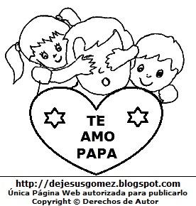 Dibujo de un Padre con sus hijos para colorear, pintar e imprimir. Dibujo del padre hecho por Jesus Gómez