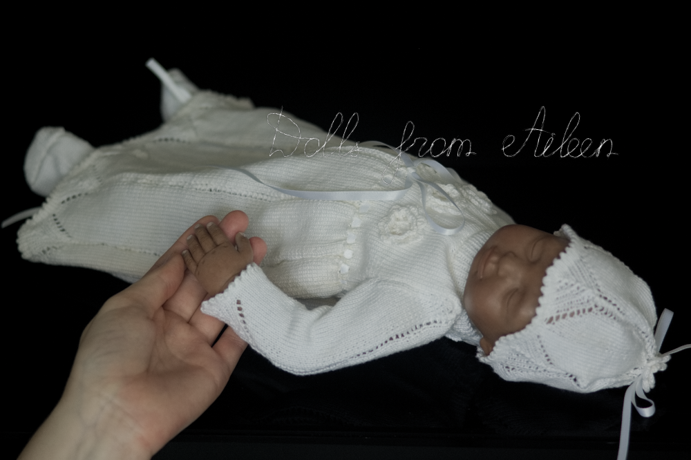 ooak baby girl doll dressed in Christening dress, with human hand