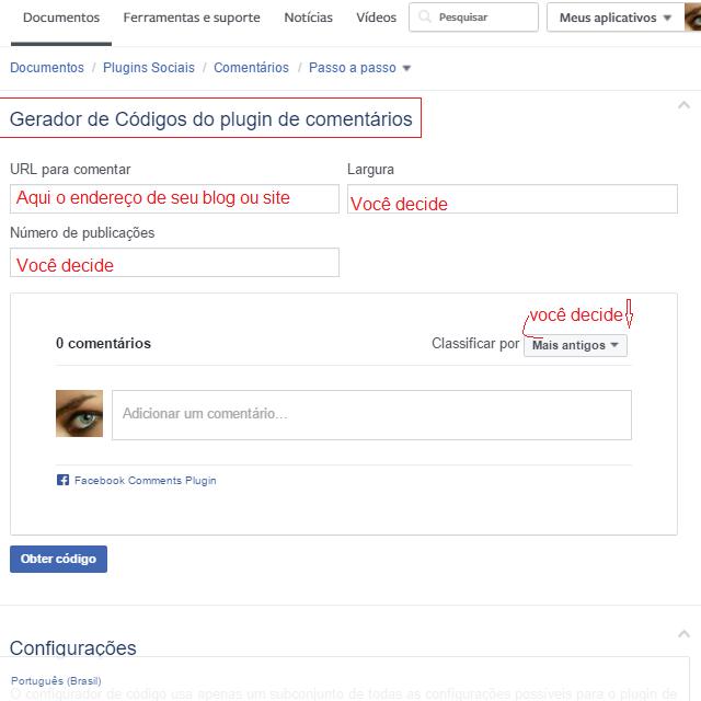 """Tutorial :   ...comentar pelo    """"Plugin de comentários"""",  (""""comments""""),   do facebook , no blog, do blogger..."""