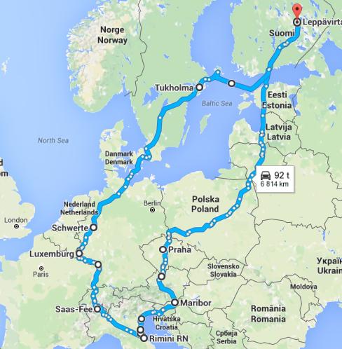 Autolla Eurooppaan Reitti