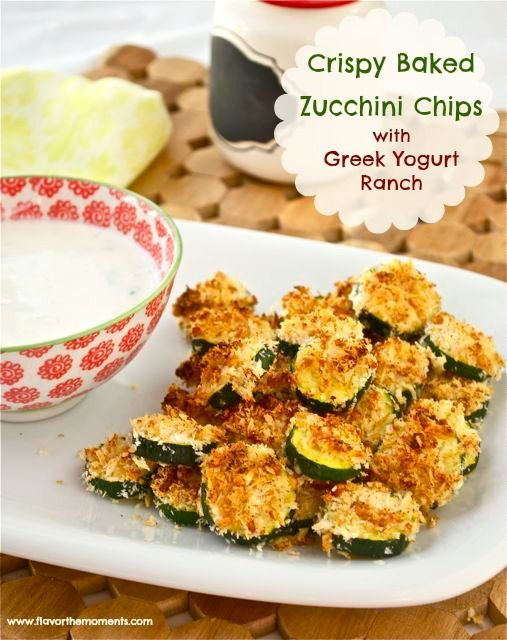 Crispy Baked Zucchini Chips & Greek Yogurt Ranch from Flavor the Moments