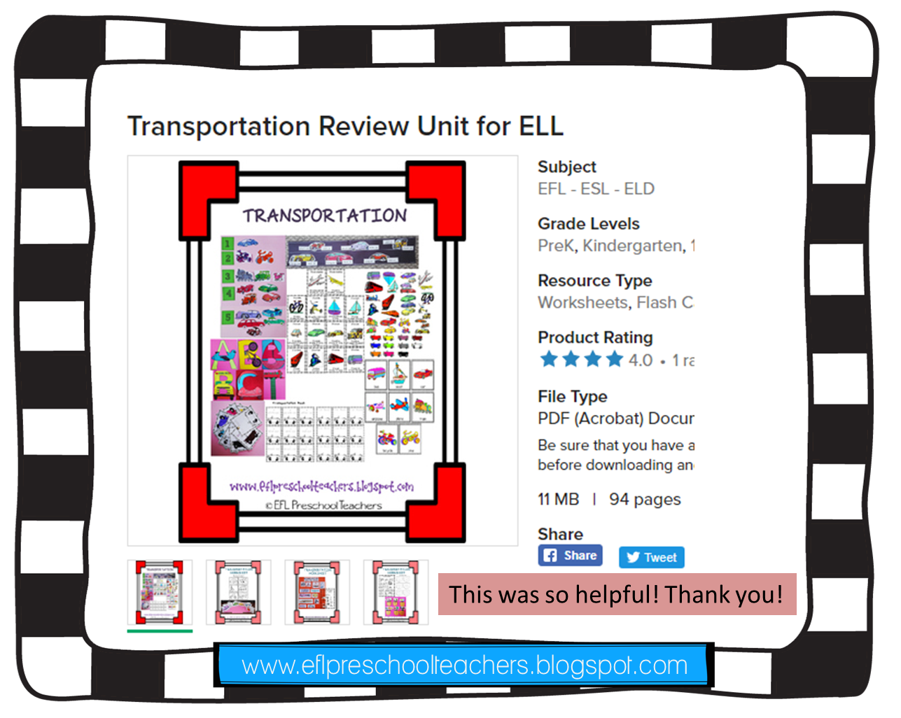 Esl Efl Preschool Teachers Transportation Review Unit For Ell