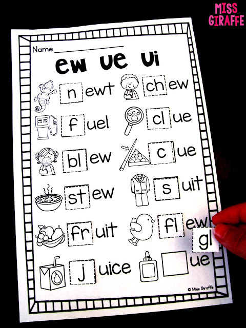 ew ue ui worksheets and no prep activities for a lot of phonics practice