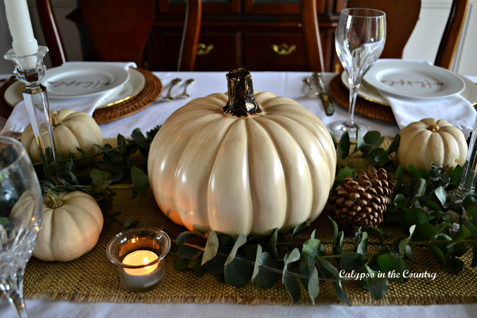 Tablescape with White Pumpkins