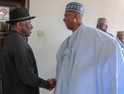 Photos From Saraki Meeting With Ex-President Jonathan In Abuja