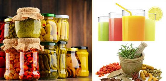 Alimentos em conserva, condimentos e sucos