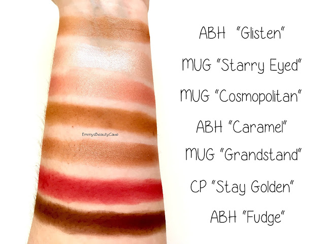 Anastasia Beverly Hills Eye Shadow Swatches, ColourPop Stay Golden Swatch, ABH Fudge Swatch
