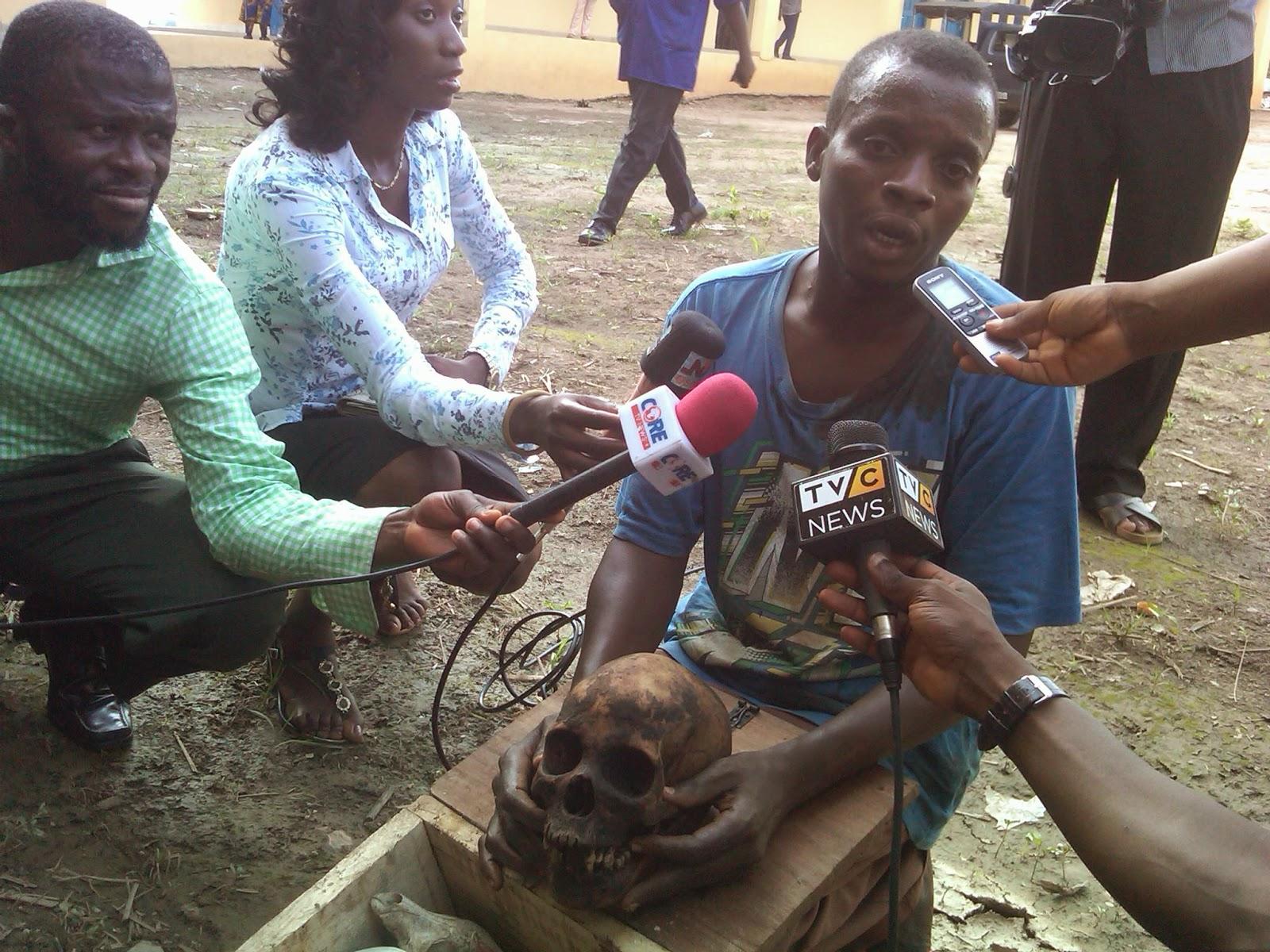 pastor arrested human skull modakeke