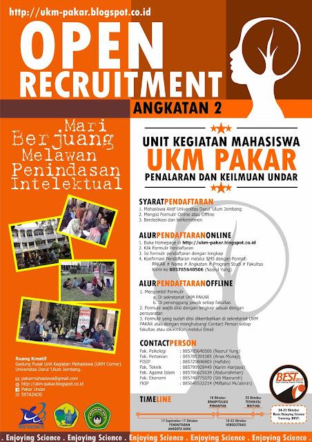 Brosur Open Recruitment Angkatan 2 Ukm Pakar Ukm Pakar